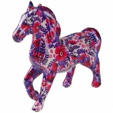 Kado spaarpot wit paard met paarse/rozen bloem print 21 cm bestellen