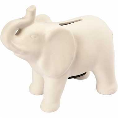 Klei spaarpot indiaase olifant wit bestellen
