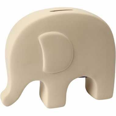 Klei spaarpot olifant wit bestellen