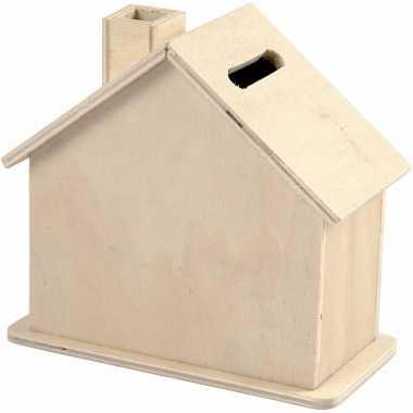 Knutsel spaarpot huisje van hout 10 cm bestellen