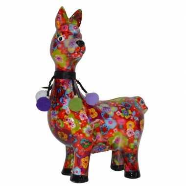 Lama/alpaca spaarpot van porselein met gekleurde bloemen print 23 cm