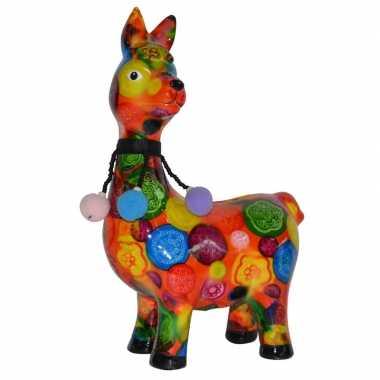 Lama/alpaca spaarpot van porselein oranje met print 23 cm bestellen