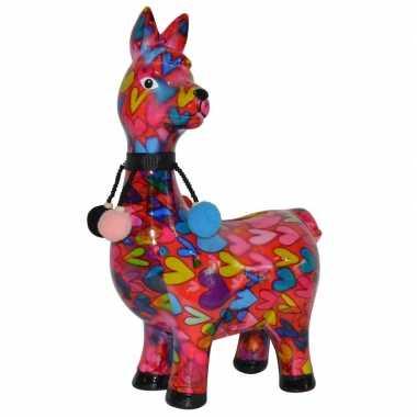Lama/alpaca spaarpot van porselein roze met hartjes print 23 cm beste