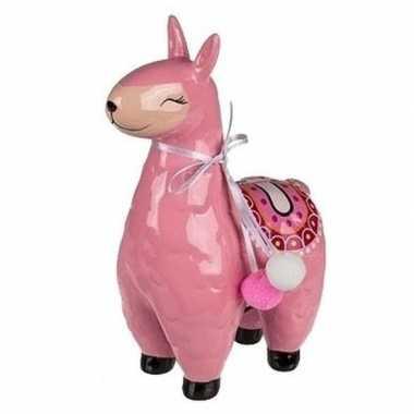 Lama spaarpot keramiek 22 cm roze bestellen