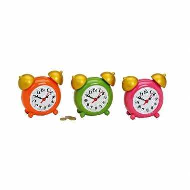 Leuke fun alarm klok spaarpot roze bestellen