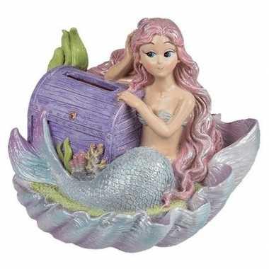 Meisjes spaarpot met zeemeermin en paarse schatkist bestellen