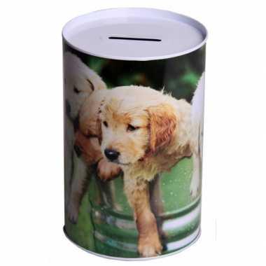 Metalen honden spaarpot 15 cm type 3 bestellen