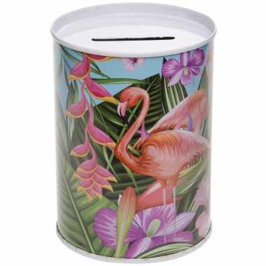 Metalen lichtblauwe spaarpot flamingos 7.5 x 10 cm bestellen