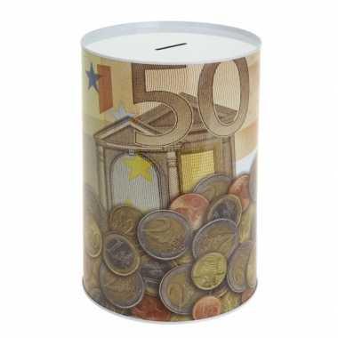 Metalen spaarpot 50 euro bestellen
