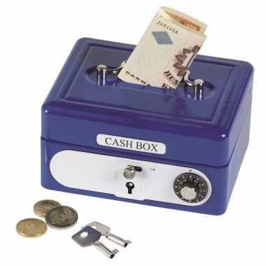 Metalen spaarpot geldkistje blauw bestellen