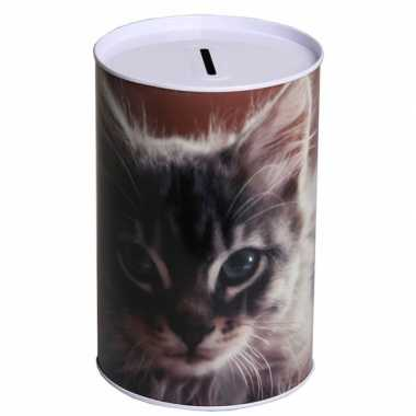 Metalen spaarpot kitten 15 cm type 2 bestellen