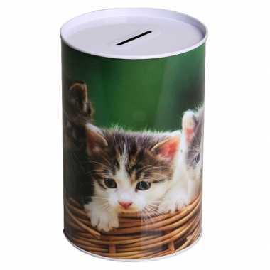 Metalen spaarpot kitten 15 cm type 3 bestellen