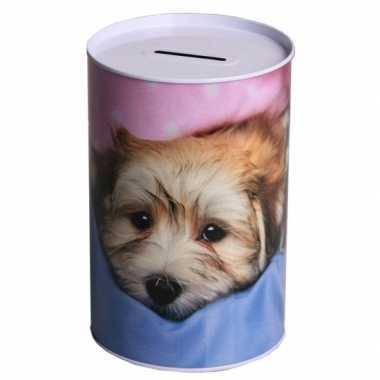 Metalen spaarpot puppy 15 cm type 2 bestellen