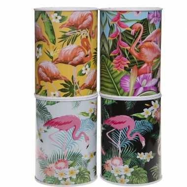 Metalen witte spaarpot flamingos 7.5 x 10 cm bestellen
