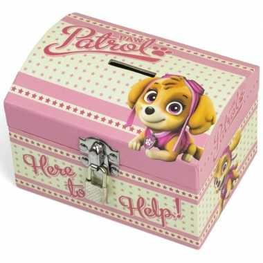 Paw patrol roze kinder spaarpot/geldkistje 14 x 10 cm bestellen