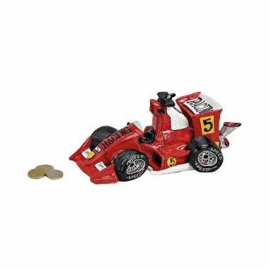 Rode raceauto spaarpot van keramiek 25 cm bestellen