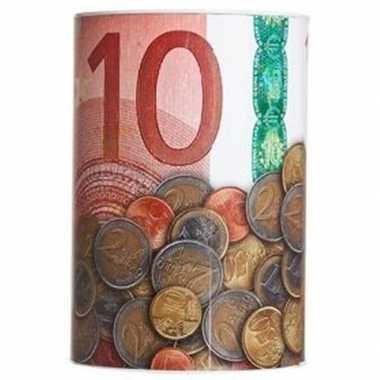 Rode spaarpot 10 euro voor kids 10 x 15 cm bestellen
