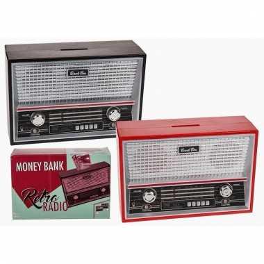 Rode spaarpot radio vorm 18 cm bestellen