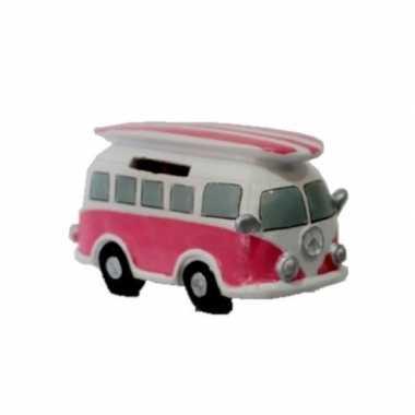 Roze hippie spaarpot volkswagen busje met surfboard bestellen