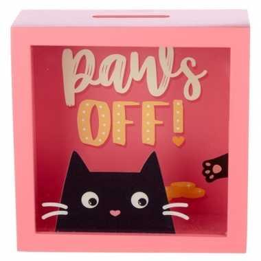 Roze raam spaarpotje feline fine kat paws off 18x18 cm bestellen