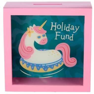 Roze raam spaarpotje vakantie eenhoorn 18x18 cm. bestellen