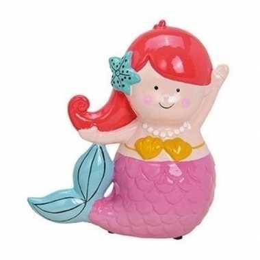 Roze/rode zeemeerminnen spaarpot 17 cm bestellen