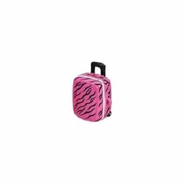 Roze spaarpot koffertje 15 cm bestellen