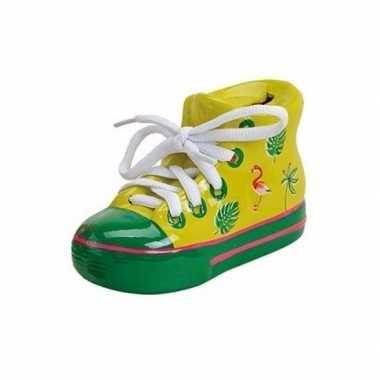 Sneakers spaarpot keramiek 14 cm geel bestellen