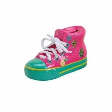 Sneakers spaarpot keramiek 14 cm roze
