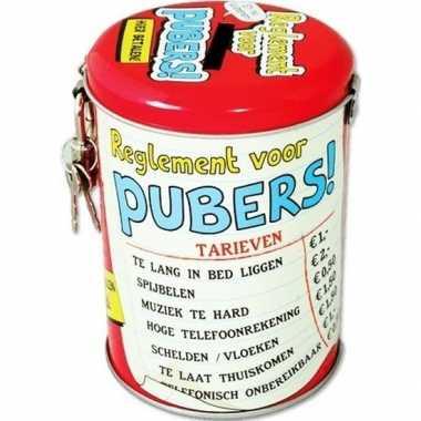 Spaarblik cadeau reglement voor pubers 10 cm