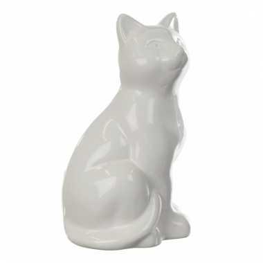 Spaarpot beeldje witte kat 20 cm bestellen