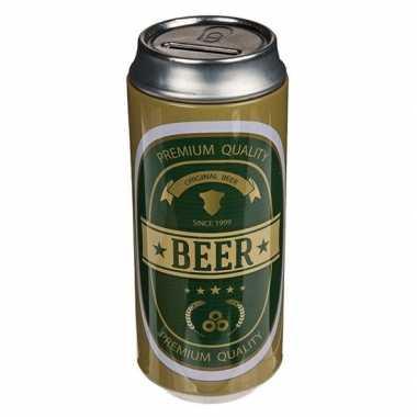 Spaarpot bier blikken groen/goud bestellen