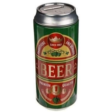 Spaarpot bier blikken groen/rood bestellen