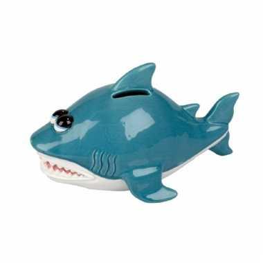 Spaarpot blauwe haai 20 cm bestellen