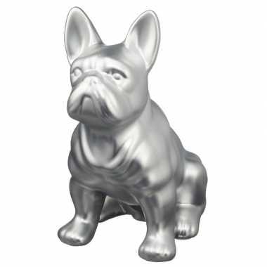 Spaarpot dierenbeeldje franse bulldog zilver 22 cm bestellen