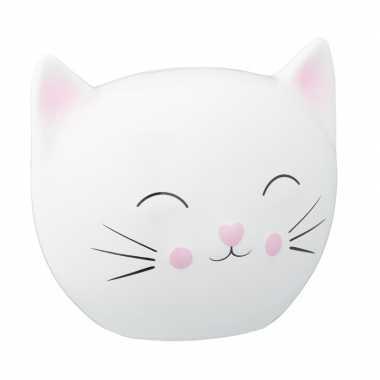 Spaarpot dierenbeeldje witte kat 15 cm bestellen