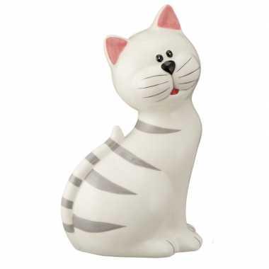 Spaarpot dierenbeeldje witte kat 23 cm bestellen