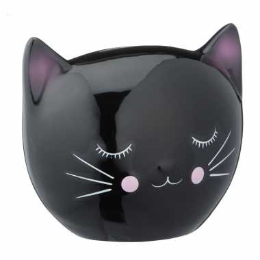 Spaarpot dierenbeeldje zwarte kat 15 cm bestellen