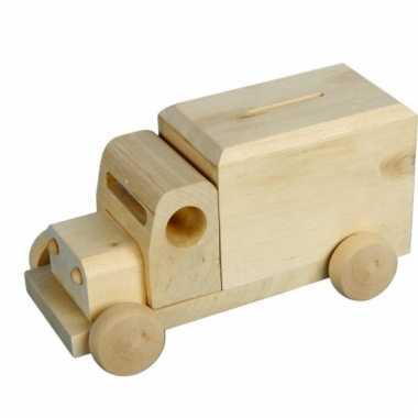 Spaarpot houten vrachtwagen bestellen