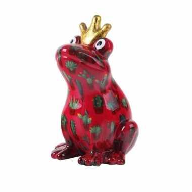 Spaarpot kikker met kroontje rood 22 cm type 1 bestellen