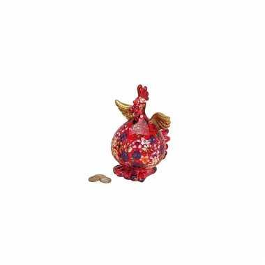 Spaarpot kippetje met bloemenprint bestellen