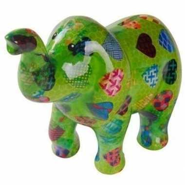 Spaarpot olifant groen met hartjes 20 cm bestellen
