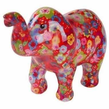 Spaarpot olifant rood met bloemen 20 cm bestellen