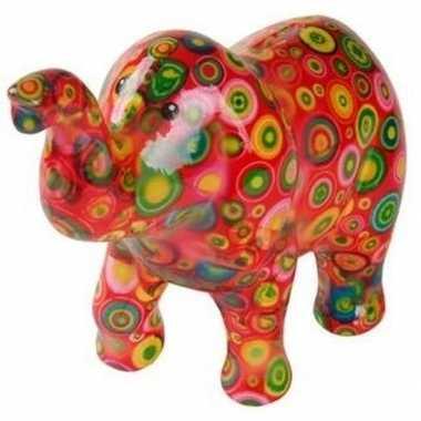 Spaarpot olifant rood met cirkels 20 cm bestellen