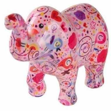 Spaarpot olifant roze met bloemen 20 cm bestellen