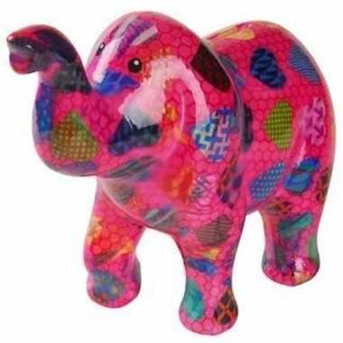 Spaarpot olifant roze met hartjes 20 cm bestellen