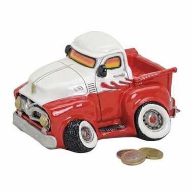 Spaarpot pick-up truck rood/wit 17 cm bestellen