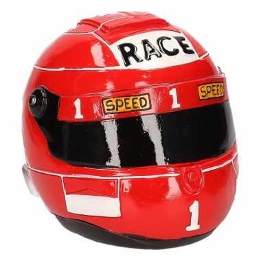Spaarpot race helm rood bestellen