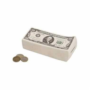 Spaarpot van Dollar briefjes 16 cm bestellen