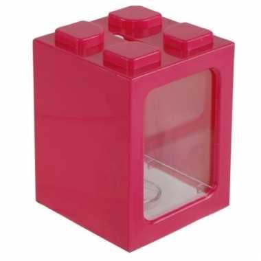 Stapel spaarpotje roze 11 cm bestellen